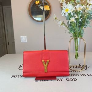 Yves Saint Laurent Red Leather Clutch Pouch